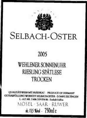 Selbach-oster Wehlener Sonnenuhr Riesling Spatlese 2002